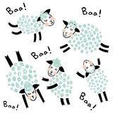 Sweet ship. Vector set of sweet sheep and Baa hand lettering text Stock Images