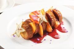 Sweet shish kebabdessert on white background royalty free stock photo