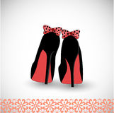 Sweet shoes. Pair of high heel shoes with sweet bows on the heels (shadows in esp10 Royalty Free Stock Photo