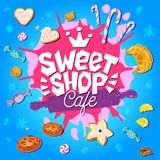 Sweet shop cafe logo design label, emblem. Hand drawn vector. Sweet shop cafe logo design label, emblem. Lettering, sweets, pastry, rolling pin, candy, cookie vector illustration