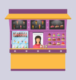 Sweet Shop with Cakes, Ice Creams, Muffins Stock Images