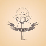 Sweet shop, candy store confectionery vector logo. Icon, symbol, emblem. Cute funny graphic design element, illustration with candy stick, lollipop, bonbon Stock Photos