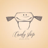 Sweet shop, candy store confectionery vector logo, icon. Symbol, emblem. Cute graphic design element, illustration with candy, lollipop, bonbon, caramel Stock Photo