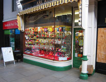 Sweet shop or Candy store window. Stock Photo