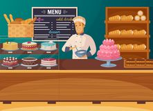 Sweet Shop Cartoon Composition Stock Photo