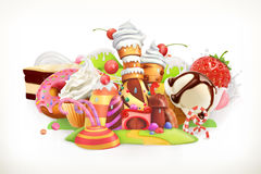 Sweet shop. Confectionery and desserts, vector illustration. Sweet shop. Confectionery and desserts, 3d vector illustration stock illustration