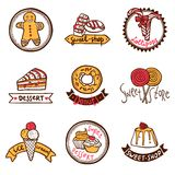 Sweet shop emblems labels set Stock Photos