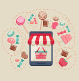 Sweet shop online store Stock Photography
