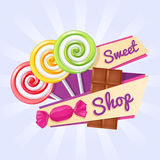 Sweet shop poster with candies and chocolate bar. Royalty Free Stock Image