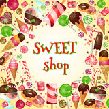 Sweet shop poster with candies and lollipops. Ice cream, yummy food, vector illustration Royalty Free Stock Image