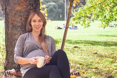 Sweet shot of attractive young woman expecting child sitting under tree, enjoying happy moment of her pregnancy, relaxing in open. Air in autumn time stock photography