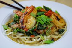 Sweet Shrimp with Rice Noodles in Coconut Sauce royalty free stock photography