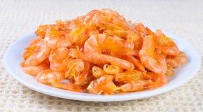 Sweet  shrimp. Sweet tiny shrimp on white dish Stock Photo