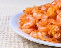 Sweet  shrimp. Sweet tiny shrimp on white dish Stock Image