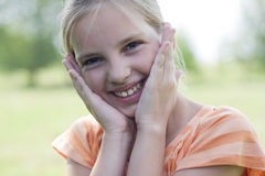 Sweet shy girl. Warm colours stock photos