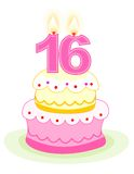Sweet sixteen birthday cake. With numeral candles isolated on white stock illustration