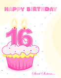 Sweet sixteen birthday cake /greeting. Sweet sixteen birthday cup cake with numeral candles.. cute birthday greeting card vector illustration