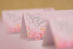 Sweet Sixteen cards. My sweet sixteen pink table placecards, party details Royalty Free Stock Photos