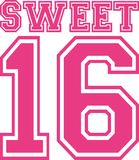 Sweet sixteen 16 college style. Vector Royalty Free Stock Images