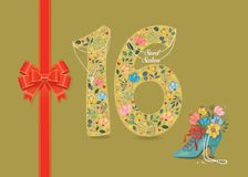 Sweet Sixteen. Floral Number 16 with pearl collar. Yellow number Sixteen with folk floral decor. Pearl collar with texts as pendants - Sweet Sixteen. Red satin vector illustration
