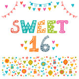 Sweet sixteen. Invitation flyer template design. Cute hand drawn. Postcard. Vector illustration Royalty Free Stock Photo