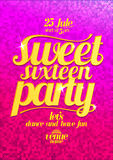 Sweet sixteen party fashion pink poster with gold letters. Stock Images