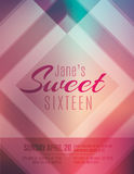 Sweet Sixteen party invitation flyer template. Modern and classy Sweet Sixteen birthday party invitation template vector illustration