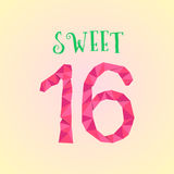 Sweet sixteen with polygonal number. Concept of birthday celebration, majority, adulthood, sixteenth postcard.  on cream background. lowpoly style trendy Royalty Free Stock Photography