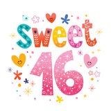 Sweet Sixteen text decorative unique typography lettering Royalty Free Stock Images
