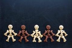 Sweet skeletons for breakfast on halloween. Healthy baby food stock image