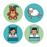 Sweet sleep icons. Over white background vector illustration graphic design Royalty Free Stock Image