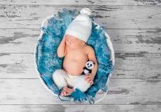Sweet sleeping baby in basket, top view Royalty Free Stock Images