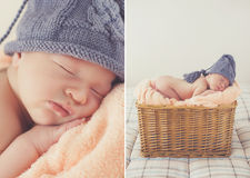 Sweet sleeping newborn baby in wicker basket-collage Royalty Free Stock Image