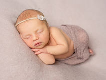 Sweet sleeping newborn girl covered with shawl Royalty Free Stock Photo