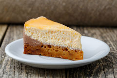 Sweet slice of carrot cake on white plate. Royalty Free Stock Photography