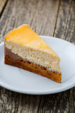 Sweet slice of carrot cake on white plate. Royalty Free Stock Images