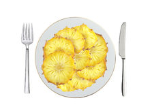 Sweet slices of pineapple fruit on white plate, spoon and fork Royalty Free Stock Photography