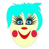 A sweet, slightly frightening face of a clown with blue  Stock Photos