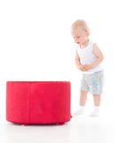 Sweet small baby with box. Stock Image