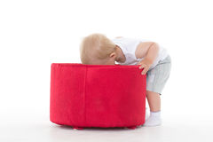 Sweet small baby with box. Royalty Free Stock Photos