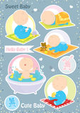 Sweet small baby in different positions. Cute small baby in different positions playing with toys,sleeping and having a bath Royalty Free Stock Images