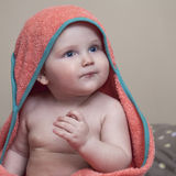 Sweet small baby with towel Royalty Free Stock Photography