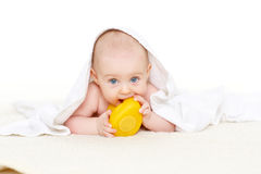 Sweet small baby with  towel Royalty Free Stock Images