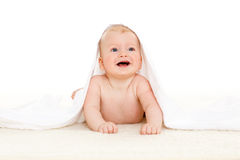 Sweet small baby with  towel Royalty Free Stock Photo