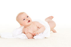 Sweet small baby with  towel Stock Images