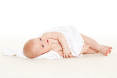 Sweet small baby with  towel Royalty Free Stock Photos