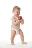 Sweet Small Baby With Apple. Stock Images