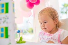 Sweet Small Girl Enjoy Her Birthday Present Stock Photography