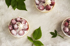 Sweet small tarts with fresh raspberry. Sweet small french tarts with fresh raspberry and cream over vintage stone table Royalty Free Stock Photo
