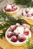 Sweet small tarts with fresh raspberry. Sweet small french tarts with fresh raspberry and cream. Selective focus Royalty Free Stock Image